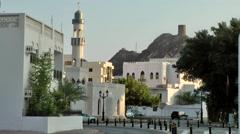 Muscat / Maskat Arabia Orient Oman sultanate 084 cityscape with minaret - stock footage