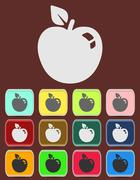 Apple sign icon. Fruit with leaf symbol. Stock Illustration
