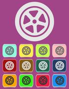 Auto wheel tire Vector icon isolated - stock illustration