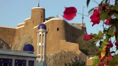 Muscat / Maskat Arabia Orient Oman sultanate 093 minaret and fortress at palace Stock Footage