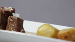 Biscuit fig and walnut cheese on cold soup. Stock Footage