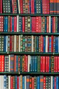 books in a library - stock photo
