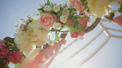 Floral arch for wedding ceremony Stock Footage