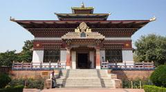 The Royal Bhutan Monastery in Bodhgaya, Bihar, India Stock Footage