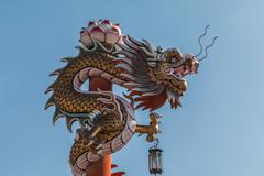Chinese dragon on the red pole at wat phananchoeng, ayutthaya, thailand Stock Photos