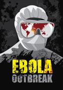 EBOLA Outbreak-Showing the world map where the virus began to spread - stock illustration