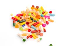 Many colorful pills Stock Photos
