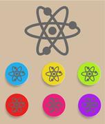 Atomic Symbol Icon Vector with Color Variations Stock Illustration