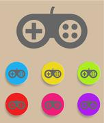 Game controller icon with color variations - stock illustration