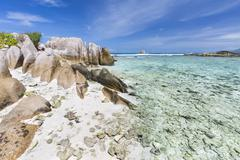 Stock Photo of beautiful lagoon anse pierrot near source d'argent in la digue, seychelles wi