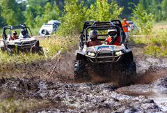 off-road racing on atv - stock photo
