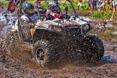 Off-road racing on atv Stock Photos