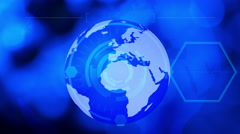 Technology business blue globe background Stock Footage