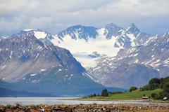 Arctic mountains and fjord - stock photo