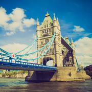Vintage look Tower Bridge, London - stock photo