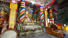 Inside the Royal Bhutan Monastery in Bodhgaya, Bihar, India Stock Footage
