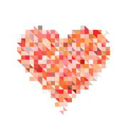 red heart from pixel particle on white backgrounds - stock illustration