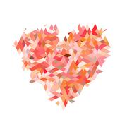 Red heart from fractal particle on white backgrounds Stock Illustration