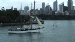 Sydney Harbour Wooden Sailing ship Stock Footage