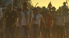 Rocío Pilgrimage. Path of brotherhood of emigrant, Huelva. Stock Footage