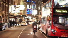 Great street view of Shaftesbury Avenue by night Stock Footage
