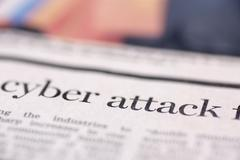 Cyber attack written newspaper Kuvituskuvat