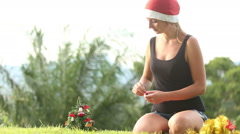 girl in a Christmas hat decoration with bells a Christmas - stock footage