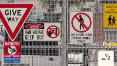 Warning Notices on Gate Stock Footage