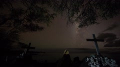 4k Time-lapse Photography with stars and grave - stock footage