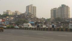 Mumbai city shot & Slum Stock Footage