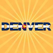 Denver flag text with sunburst illustration Stock Illustration