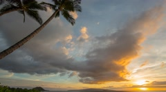 Stock Video Footage of 4k Time-lapse Photography with Sunset on hawaiian beach
