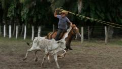 Rodeo lasso slowmo - stock footage
