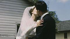 USA 1950s: wedding kiss - stock footage