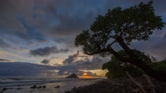 Stock Video Footage of 4k Time-lapse Photography with Sunriset on hawaiian beach