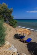sun bed on the beach - stock photo