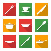 Stock Illustration of flat white dinnerwarwe icons