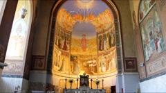 Interior of  holy visitation church in Ein Kerem, Jerusalem Stock Footage