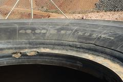 tire of truck of mine - stock photo