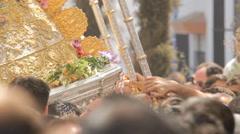 Virgin del Rocio procession through the streets of Almonte Stock Footage