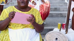 A Brazilian woman of African descent, wearing traditional clothes Stock Footage