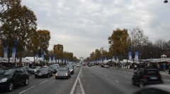 Traffic in Paris Champs Elysee , November 2014 , France Stock Footage