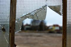 damaged glass - stock photo