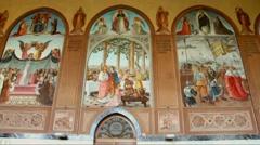 Holy visitation church in Ein Kerem, Jerusalem-old movie effect Stock Footage