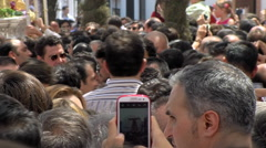 Virgin del Rocio procession through the streets of Almonte Stock Footage