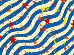 Many multicolored stars of wavy stripes backgrounds. holiday symbol Stock Illustration