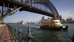 A Ferry arriving at Wharf in Sydney Harbour Stock Footage