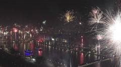 4K Time lapse zoom out grand firework aerial New Years Eve Stock Footage