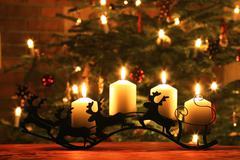 Advent Candles on Reindeer Sledge Stock Photos