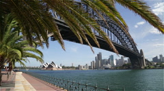 Sydney Harbour Bridge and Opera House Dolly Shot Stock Footage